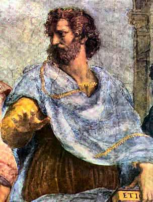 Aristotle as portrayed by Italian Renaissance artist Raphael