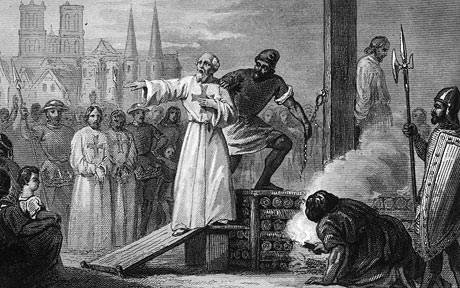 Members of the Knights Templar about to be burned at the stake.