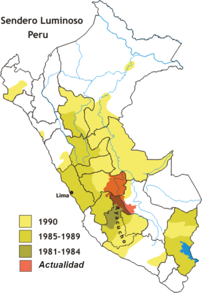 Areas where Shining Path was active in Peru