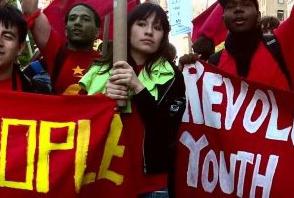 Comrade Josefina marches with RSCC in a previous event.